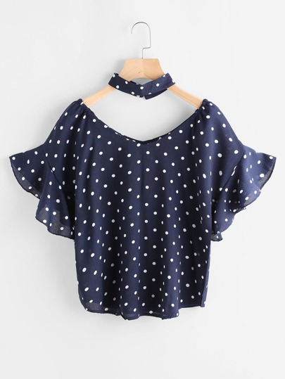 Polka Dot Frill Trim Top With Choker