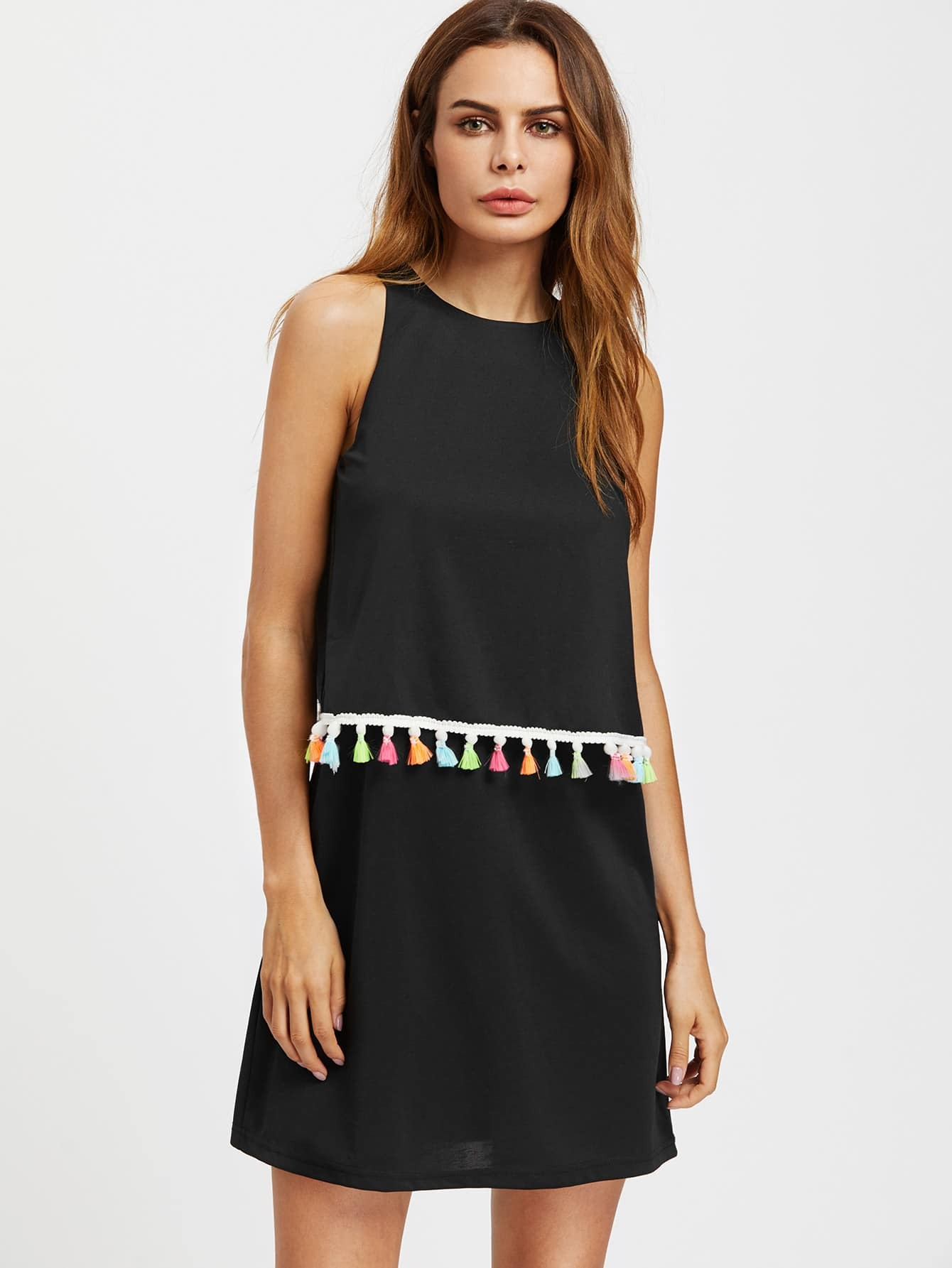Фото Tassel Trim Overlap Back Two Layer Dress. Купить с доставкой