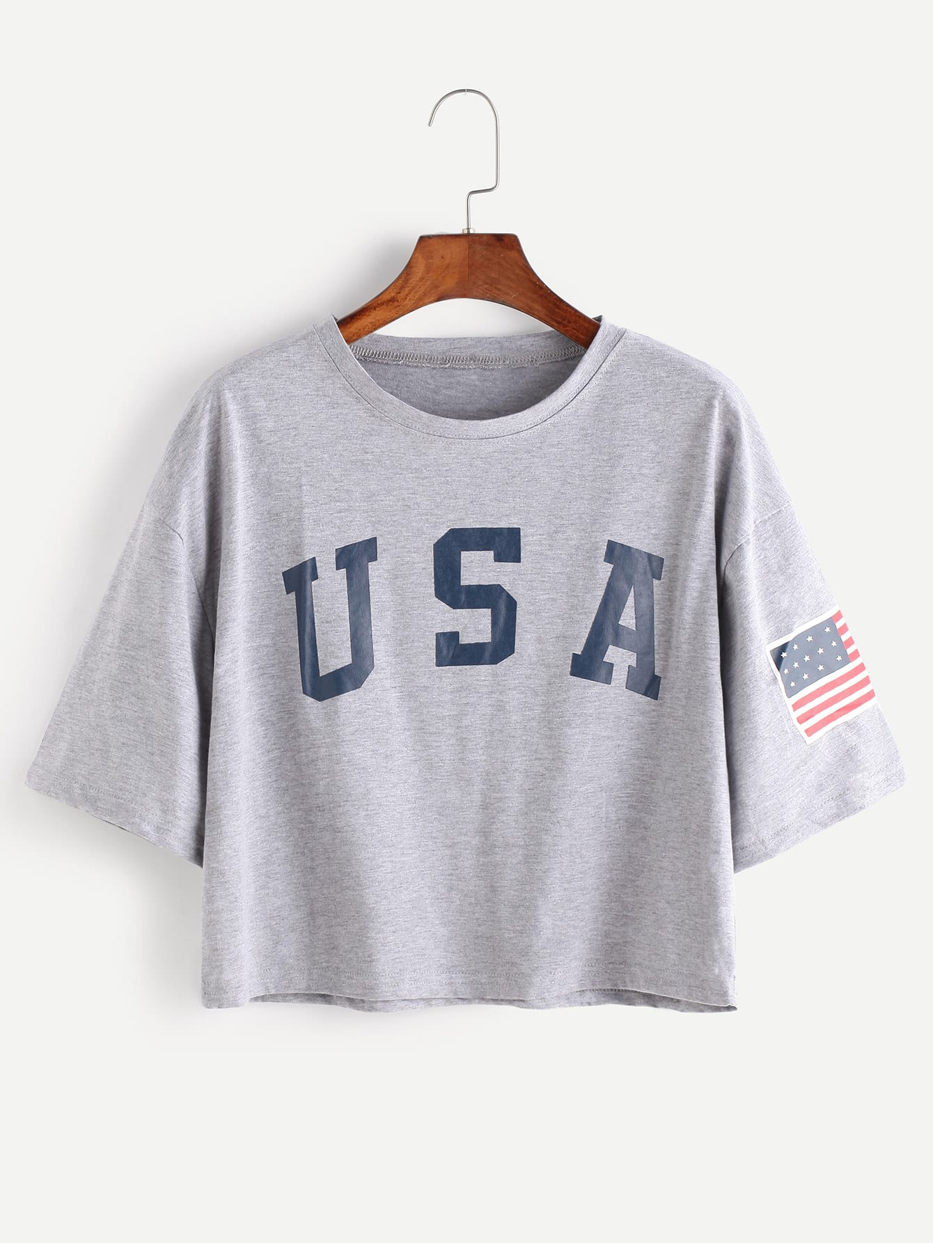 American Flag Letter Print Drop Shoulder Tee two tone drop shoulder tee