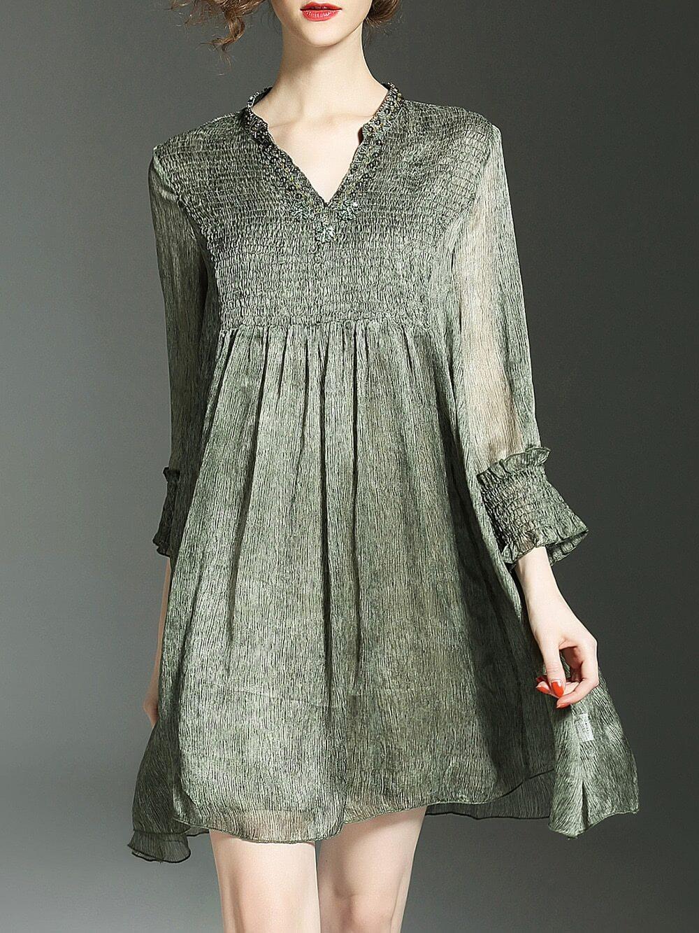 Фото V Neck Sheer Pleated Shift Dress. Купить с доставкой