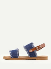Frayed Trim Denim Flat Sandals