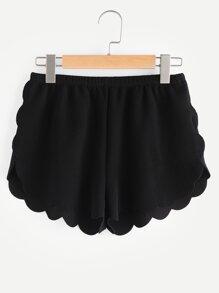 Pantaloncini con elastico in vita ,con fondo smerlato