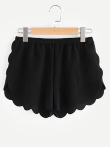Shorts con cintura elástica con ribete festoneado con textura