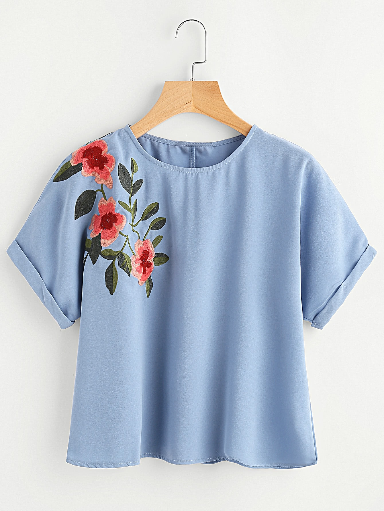 Flower Embroidered Cuffed Sleeve Top blouse170421457