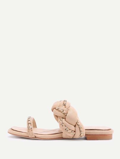 Chain Detail Braided Strap Slip On Sandals