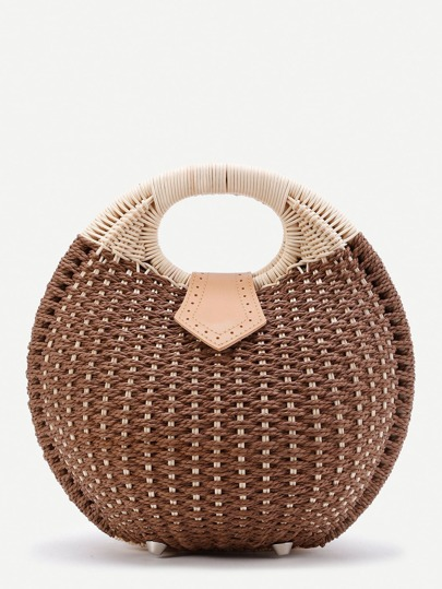 Ring Handle Straw Beach Bag