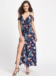 Cold Shoulder Ruffle Trim High Split Side Warp Dress