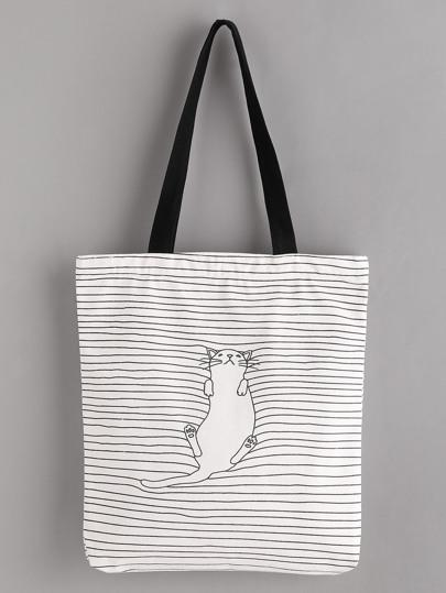 Sleeping Cat Print Linen Tote Bag