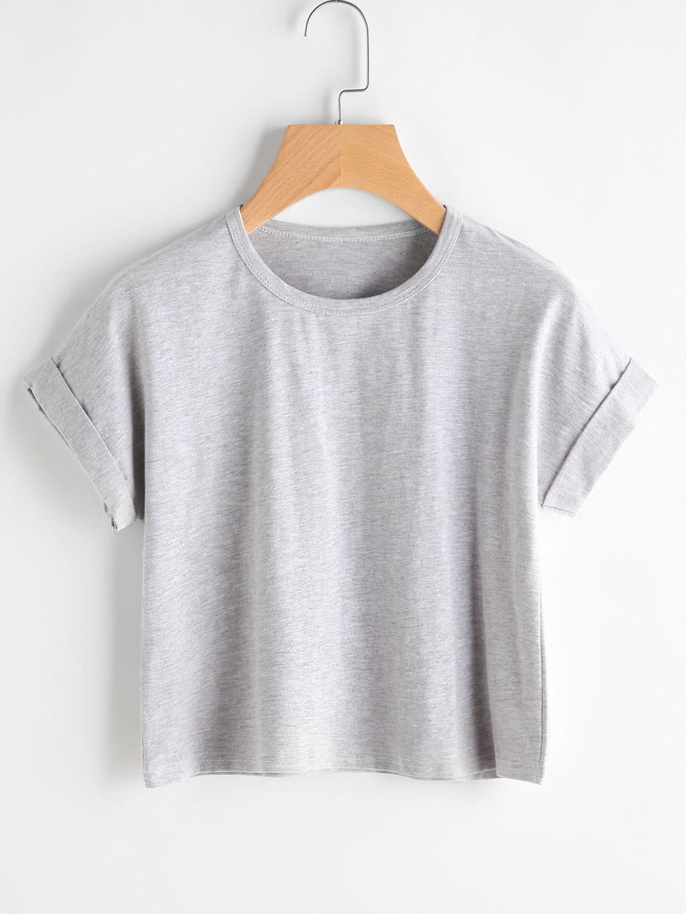 Cuffed Slub Tshirt round neck cropped t shirt
