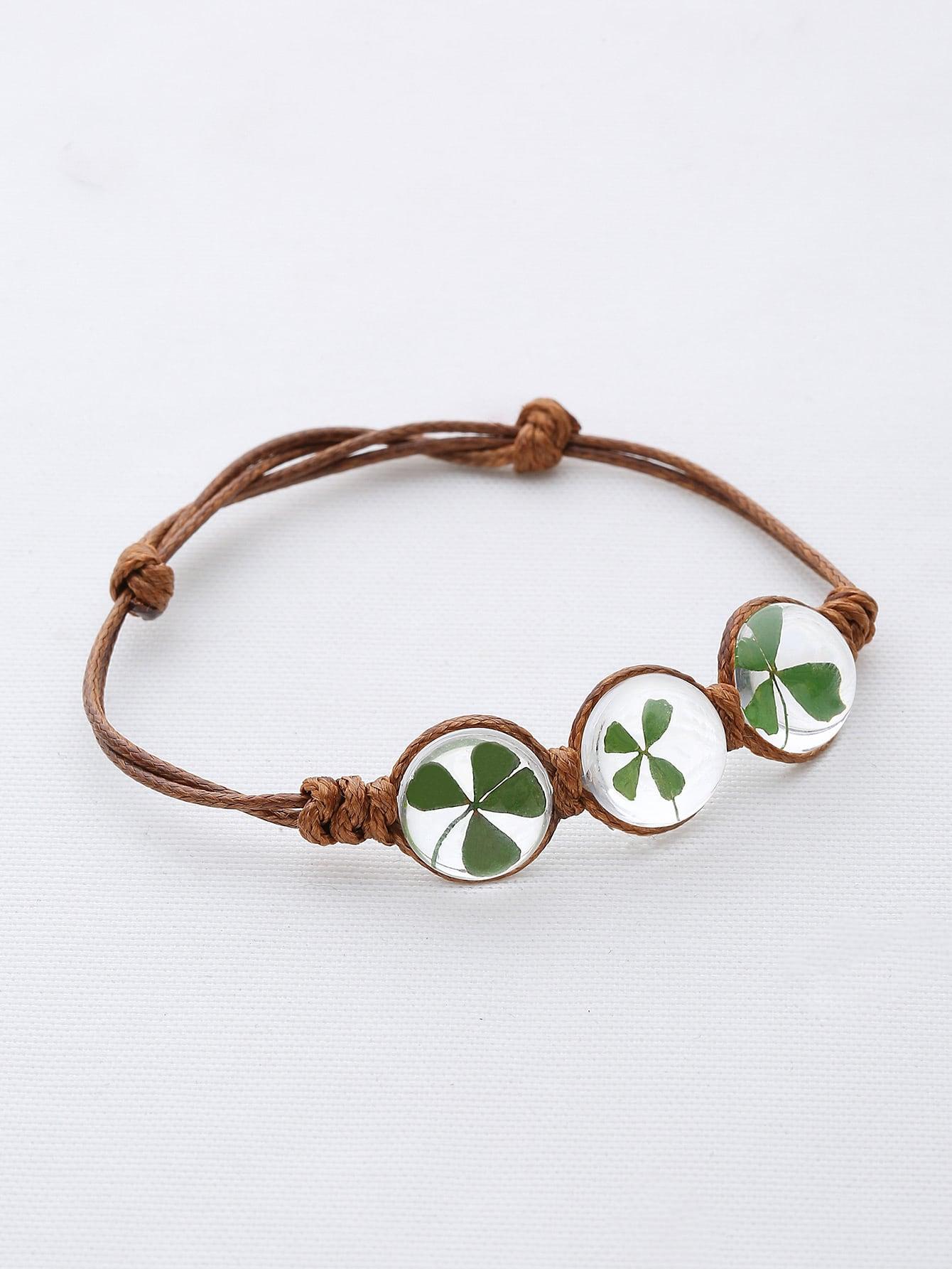 Фото Clover Glass Stone Weave Link Bracelet. Купить с доставкой