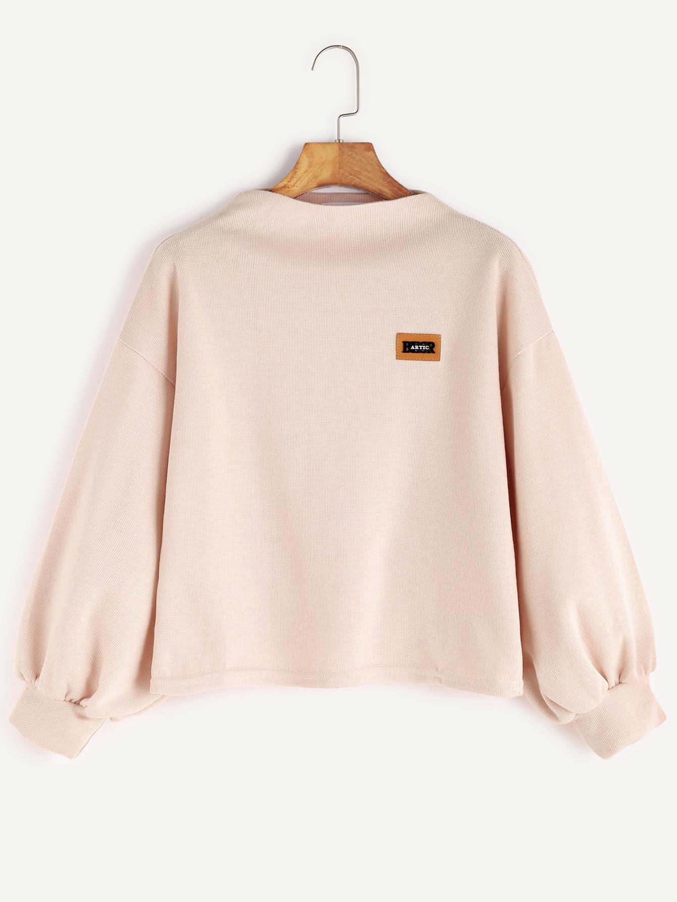 Funnel Neck Drop Shoulder Lantern Sleeve Patch Sweatshirt drop shoulder frilled sleeve sweatshirt