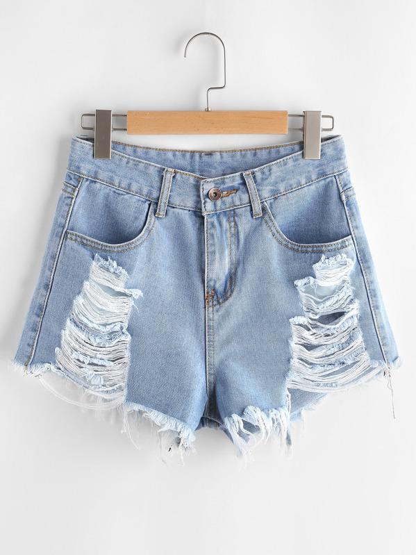 Distressed Frayed Hem Denim Shorts, null