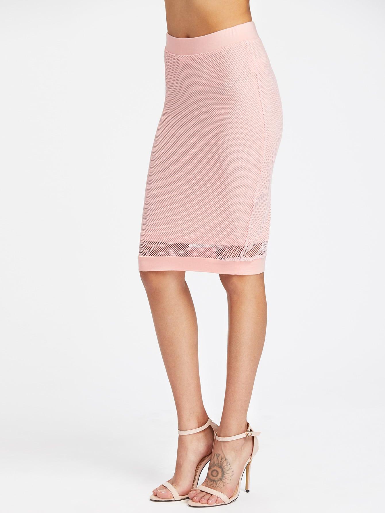 Фото Fishnet Overlay Form Fitting Skirt. Купить с доставкой