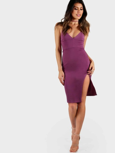 Slit Front Cami Pencil Dress