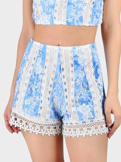 Crocheted Trimmed Floral Stitch Shorts BLUE