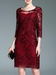 Burgundy Sheer Gauze Embroidered Sheath Dress