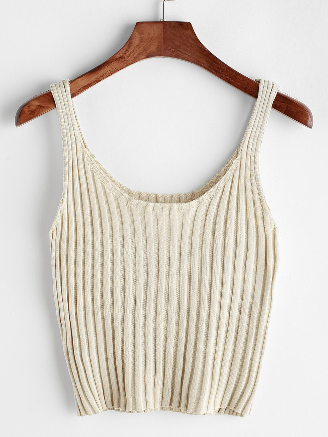 Ribbed Knitted Cami Top surplice neck ribbed cami top
