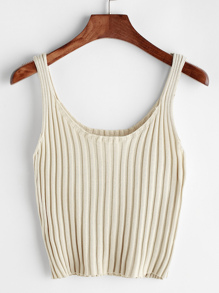 Ribbed Knitted Cami Top ROMWE
