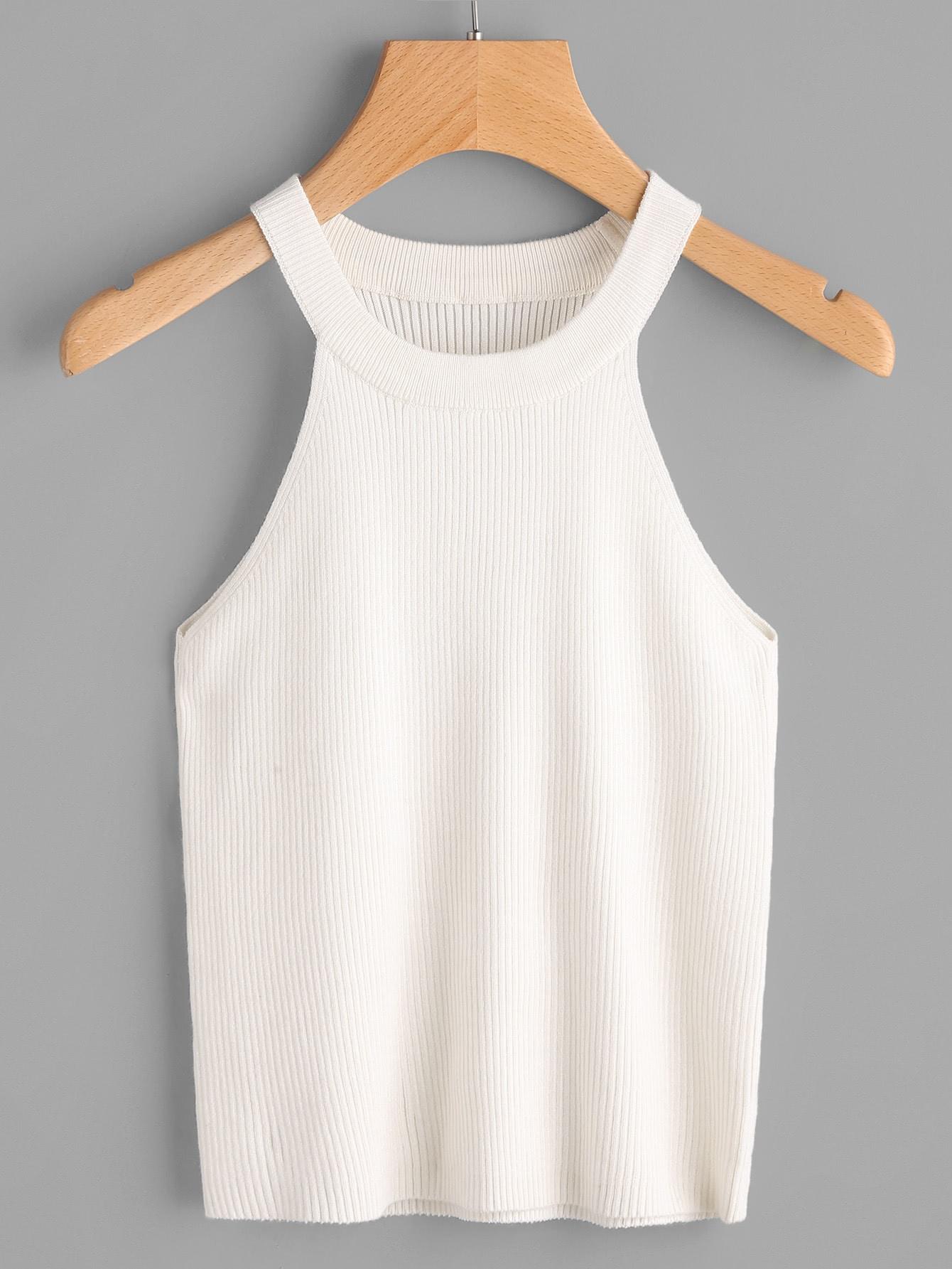 Rib Knit Halter Top vest170425451