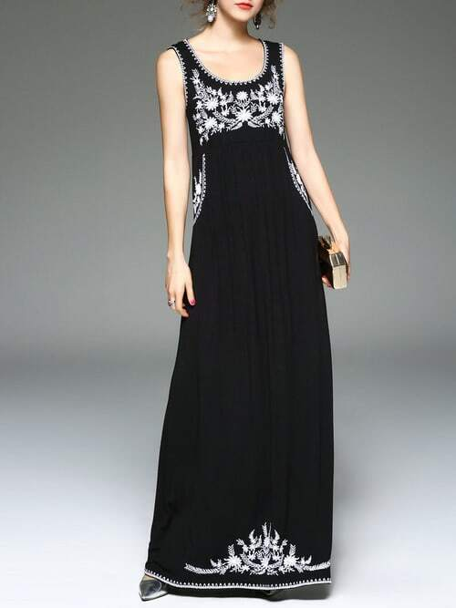 Фото Black U Neck Flowers Embroidered Maxi Dress. Купить с доставкой