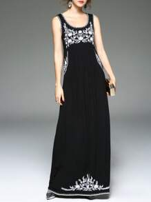 Black U Neck Flowers Embroidered Maxi Dress