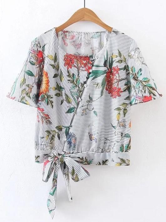Фото Short Sleeve Floral Tie Waist Top. Купить с доставкой