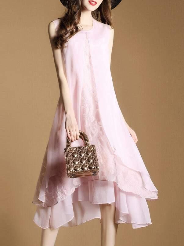 Фото Pink Flowers Embroidered High Low Layered Dress. Купить с доставкой