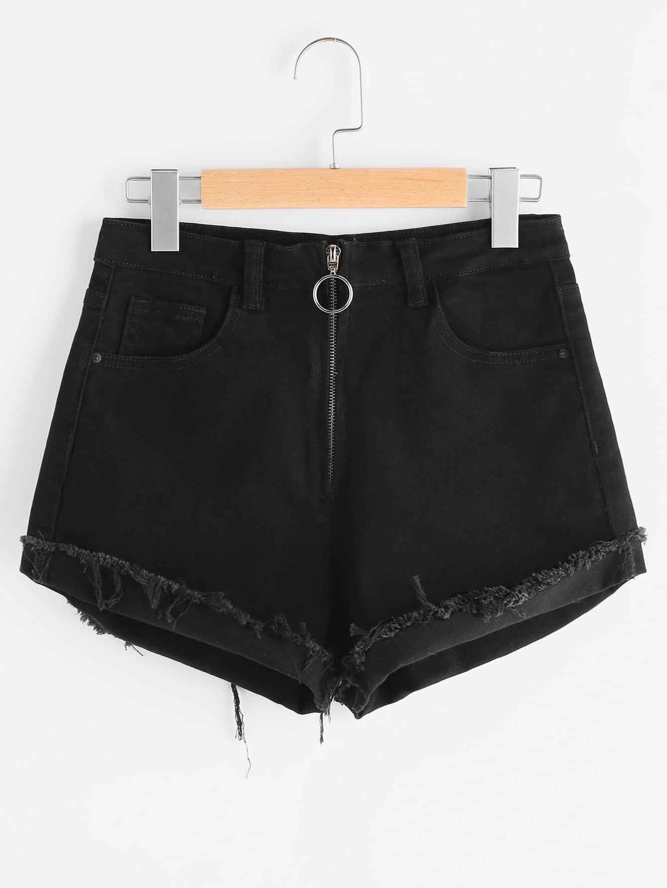 Фото Exposed Zip Fly Frayed Cuffed Denim Shorts. Купить с доставкой