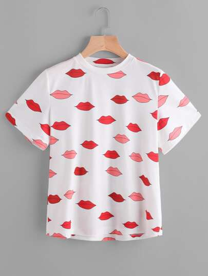 All Over Red Lip Print Tee