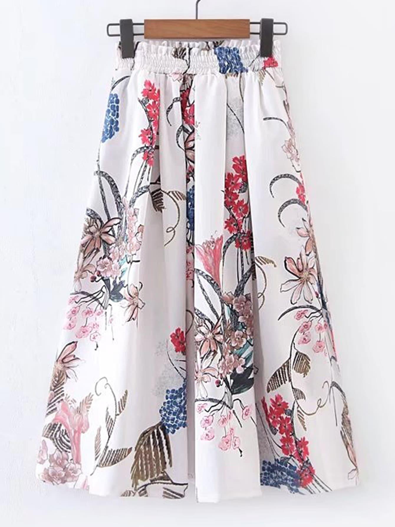 Elastic Waist Floral A Line Skirt skirt170412201