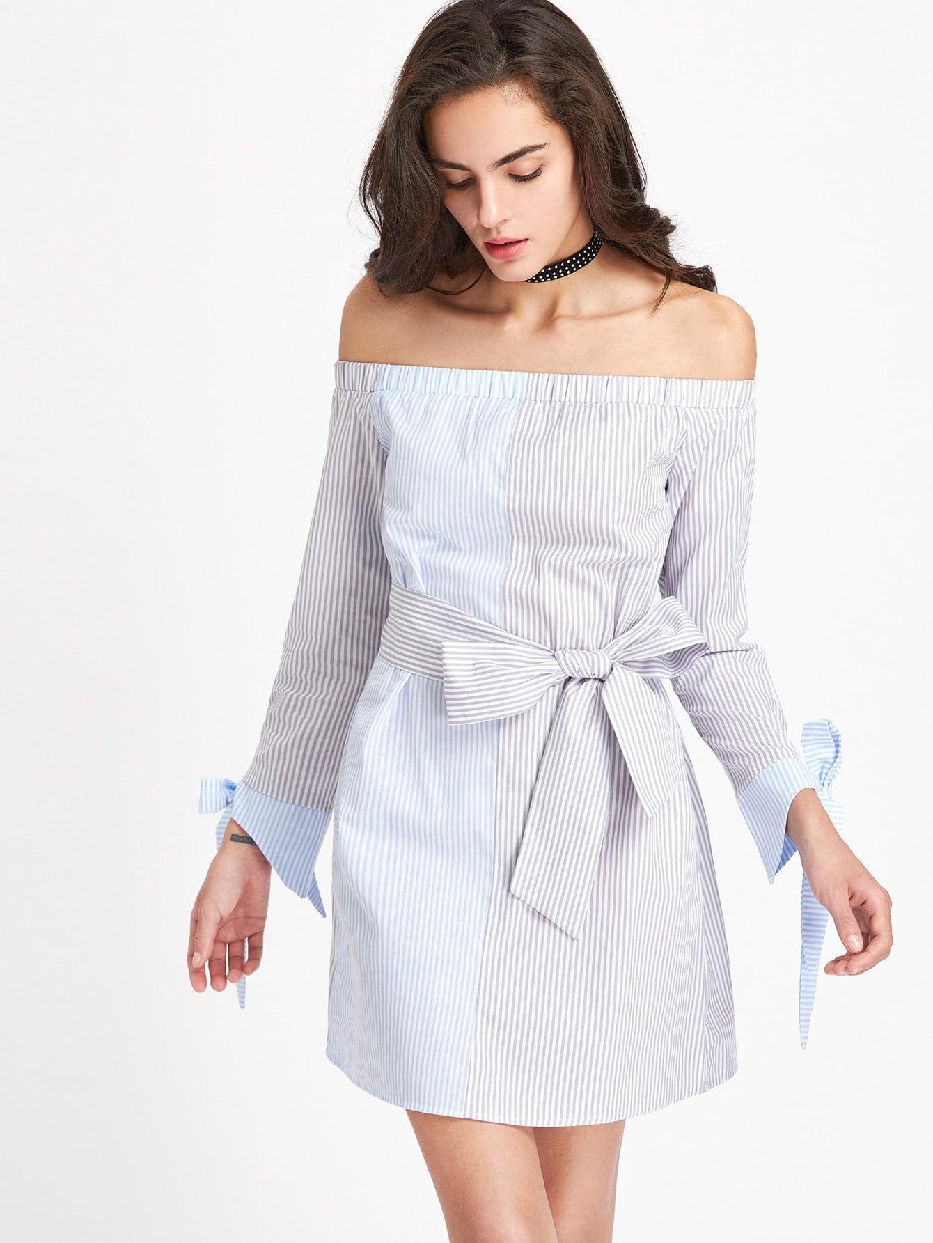 Фото Bardot Contrast Striped Tie Cuff Dress With Self Tie. Купить с доставкой