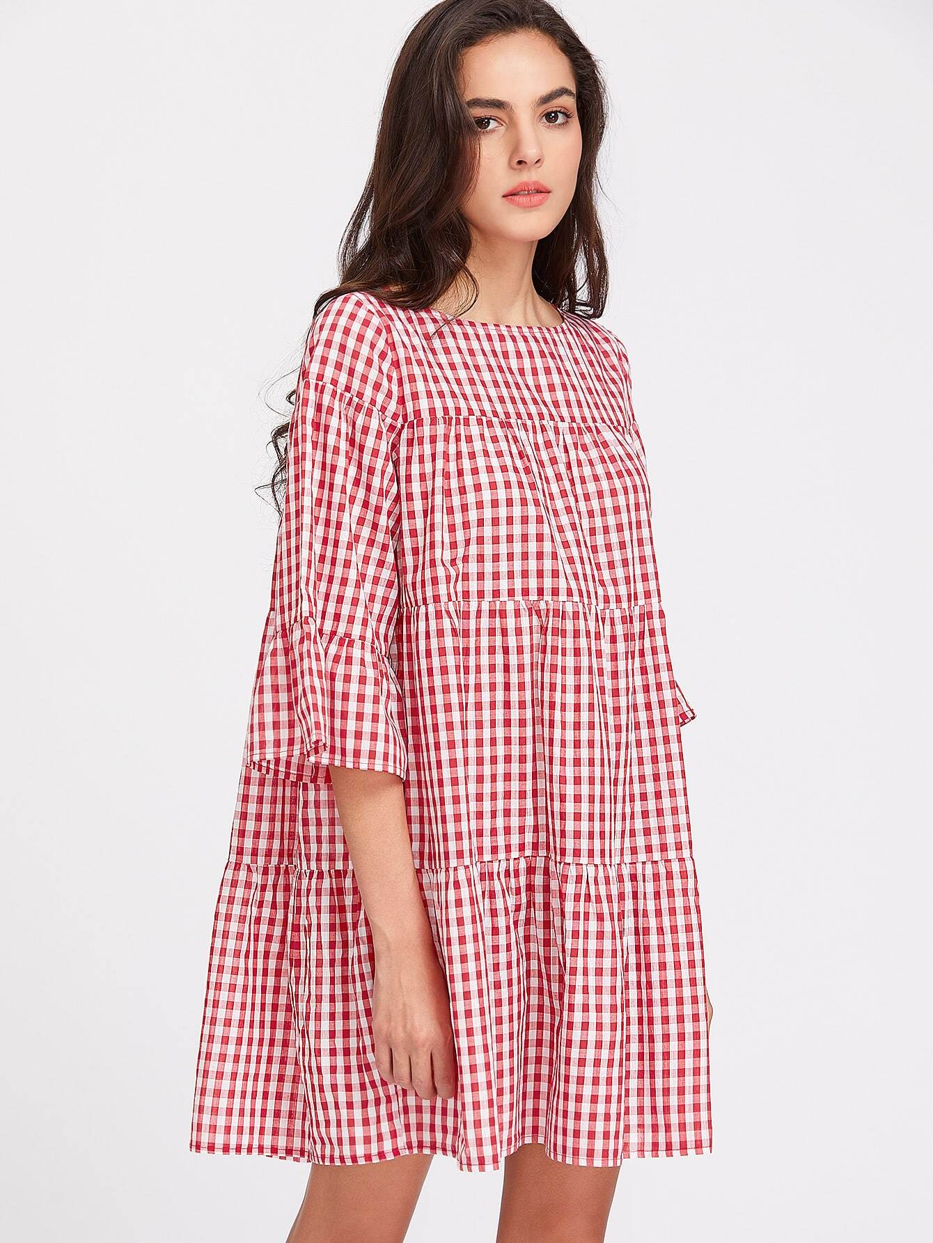 3/4 Sleeve Tiered Gingham Tent Dress collared wrap front gingham tiered dress
