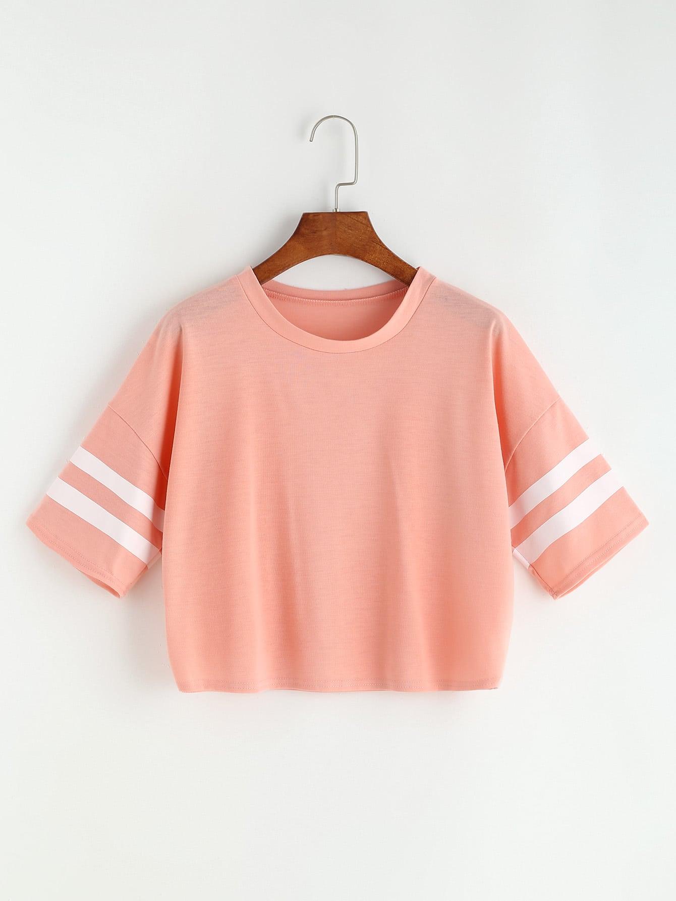 Striped Sleeve Drop Shoulder Crop Tee drop shoulder water color crop sweatshirt