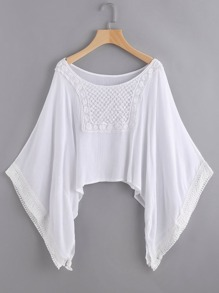 Lace Detailed Kimono Sleeve Cover Up