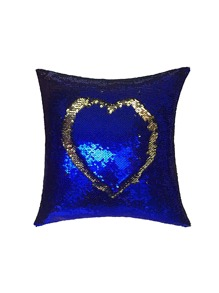 Heart Shaped Sequin Overlay Cushion Cover