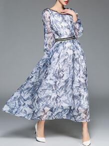 Lotus Sleeve Beading Bamboo Print Dress