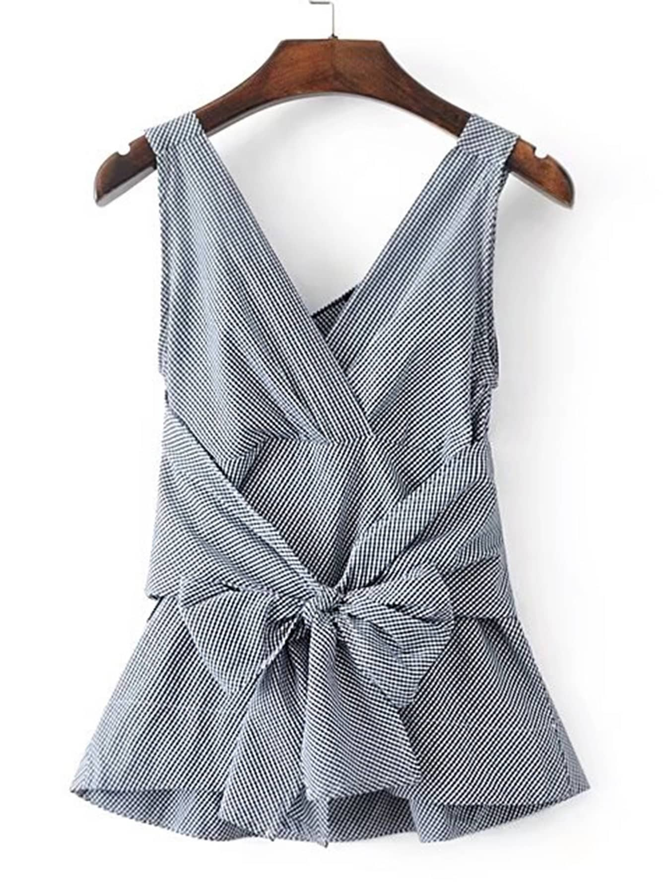 Фото V-Neckline Bow Tie Waist Gingham Sleeveless Top. Купить с доставкой