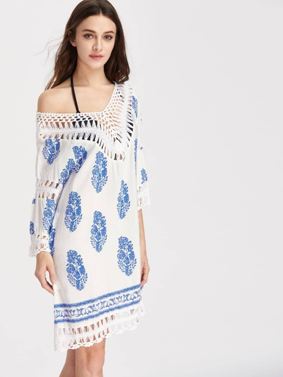 Hollow Out Crochet Trim Fern Pattern Dress