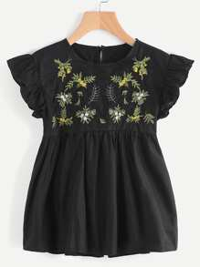 Butterfly Sleeve Embroidered Keyhole Back Smock Blouse
