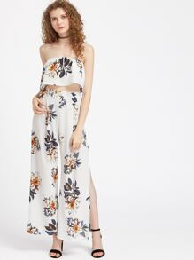 Florals Ruffle Layered Bandeau Top With Split Pants