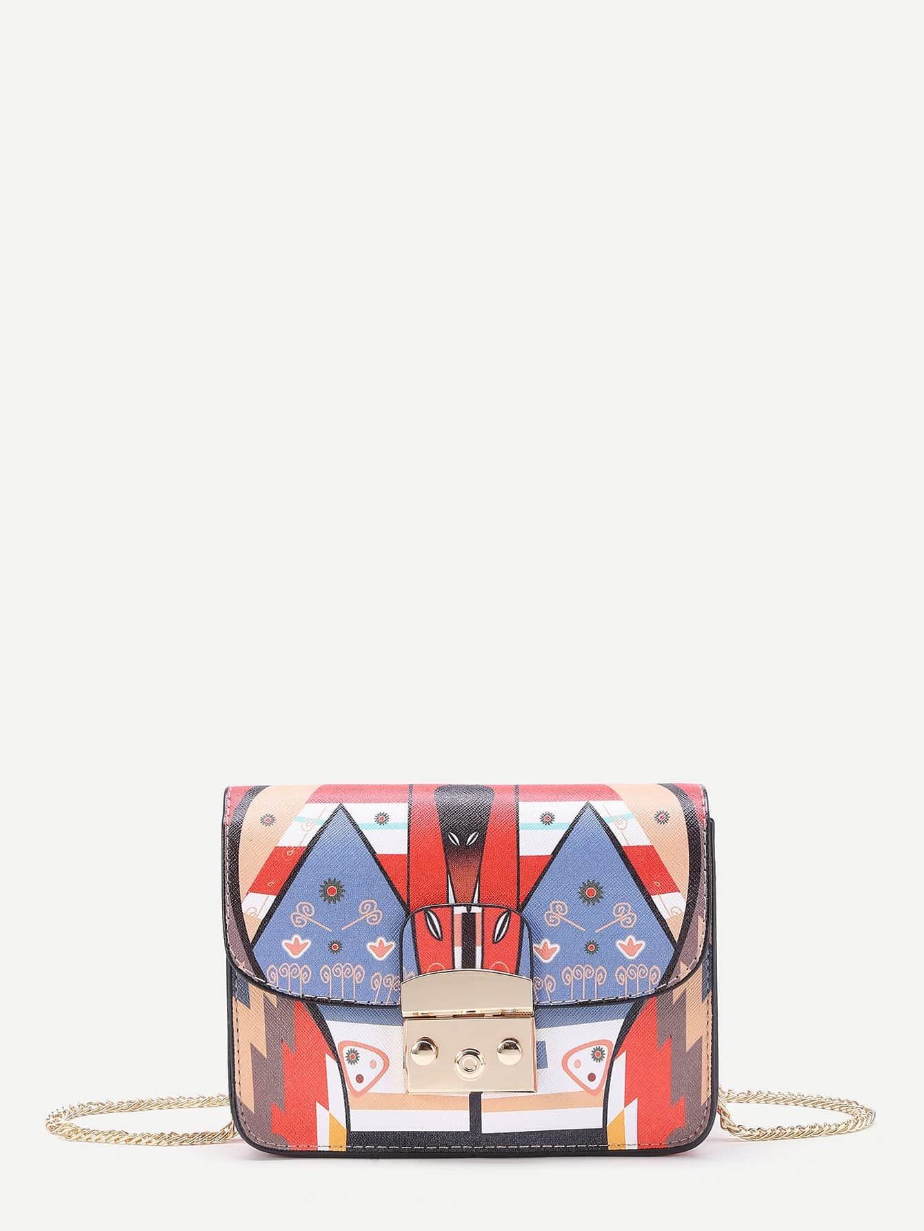 Фото Print Flap Crossbody Bag With Chain. Купить с доставкой