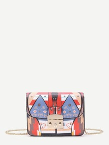 Print Flap Crossbody Bag With Chain