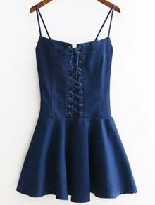 Eyelet Lace Up Front Zipper Side Denim Cami Dress