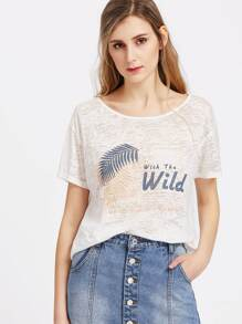Palm Print Distressed Paper Thin Sheer Tee