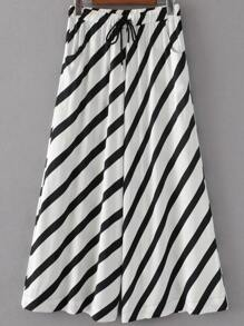 Drawstring Waist Striped Palazzo Leg Pants