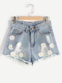 Shorts con aplicaciones con rotura en denim
