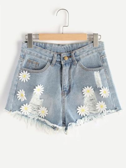 Appliques Frayed Hem Denim Shorts