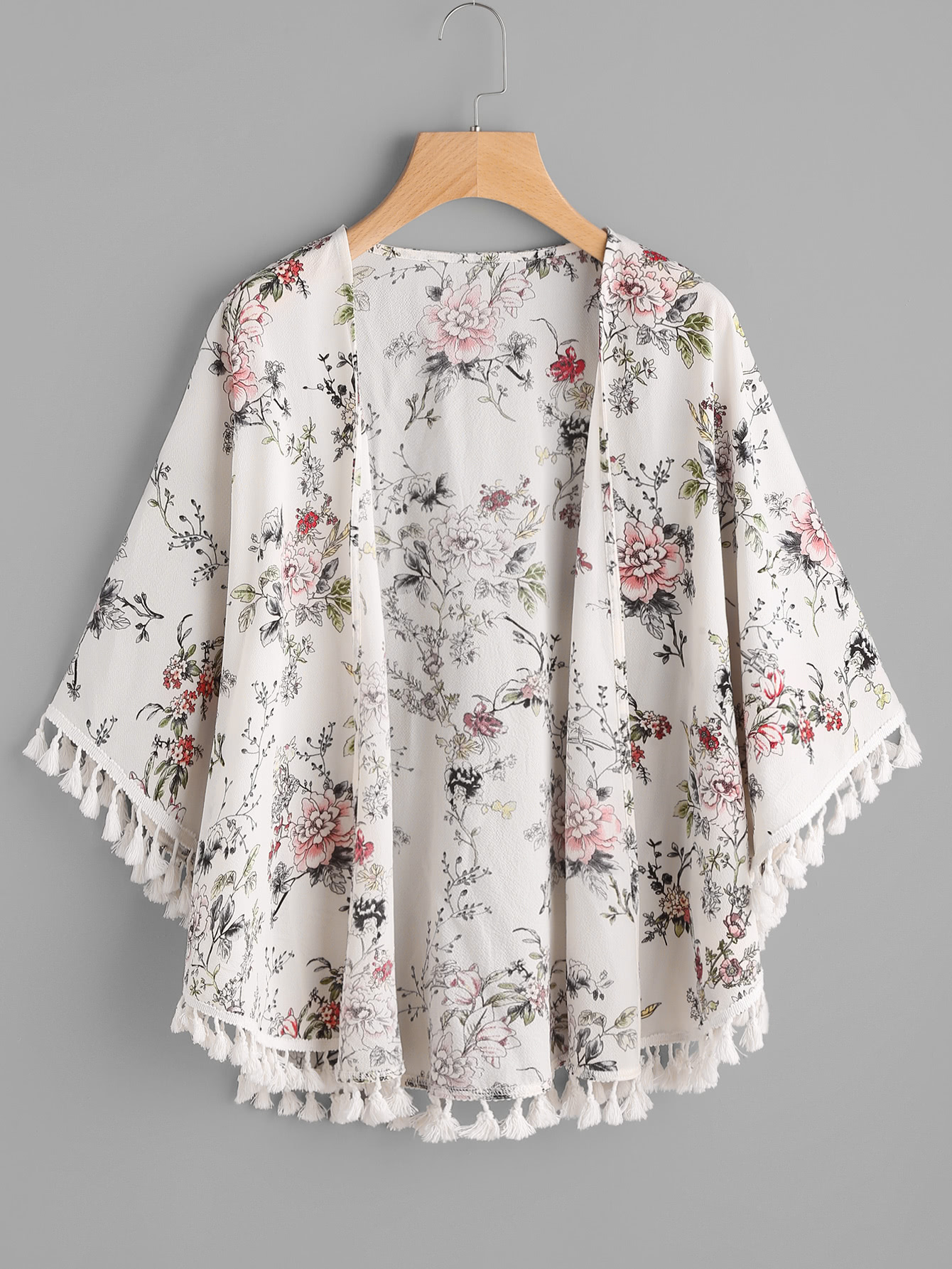 Fringe Trim Curved Hem Botanical Kimono