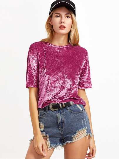 Samt-T-Shirt – Pink