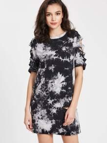 Tie Dye Print Ripped Tee Dress